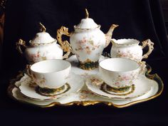Antique Limoges L S & S France Coffee Set On Tray Cherubs Flowers in Pottery & Glass, Pottery & China, China & Dinnerware, Limoges   eBay