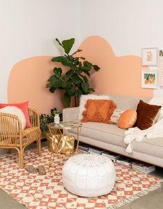 39 Inspiring Rustic Home Decor Living Room Ideas Living Room Decor, Bedroom Decor, Peach Living Rooms, Coral Bedroom, Living Room Orange, Wall Decor, Aesthetic Room Decor, Boho Aesthetic, New Room