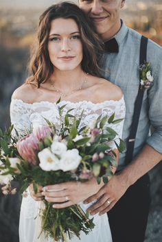 Trent and Tori's joyful and relaxed Southern California wedding, featuring our Jasmine two-piece.