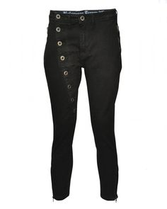 Button Cropped Flat Liner Jeans (Washed Black) - Bolongaro Trevor, Hoxton Trading Ltd