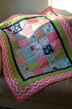 Girls Quilt Baby Blankie lap Blanket Pink Minky by MyBlankies