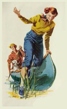 Woman landing the canoe