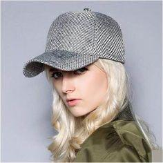 Gray woven baseball cap for women UV protection sun hat