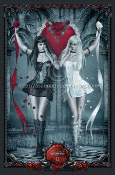 Gothic Zodiac: Gemini by UnholyVault on DeviantArt Gemini Art, Gemini Life, Gemini Zodiac, Zodiac Art, My Zodiac Sign, Dark Fantasy, Fantasy Art, Signes D'air, Tarot