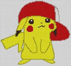 Alpha friendship bracelet pattern added by Dragonlove. Kawaii Cross Stitch, Pokemon Cross Stitch, Pikachu Crochet, Pixel Art Grid, Pixel Drawing, Anime Pixel Art, Pokemon Perler Beads, Pixel Art Templates, 8bit Art