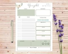 Excited to share this item from my #etsy shop: Flower Designed Daily Planner/Print at Home/To-Do List/Week Planner/Work Planner/Water & Food Intake Tracker/Mood Tracker/ You've got this! To Do Planner, Weekly Meal Planner, Making Goals, Mood Tracker, Star Flower, Wonderful Things, Just Go, Flower Designs, Marketing And Advertising