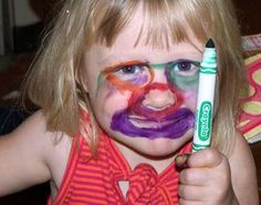 Crayola Crayons - They Are Not Just for Coloring Your Face Kid Bad Kids, Cute Kids, Funny Kids, The Funny, Funny Work, Hilarious Photos, Funny Kid Pictures, Hilarious Jokes, Kid Photos
