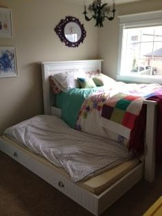 This is a really neat trundle-bed because of the way it is built. The top of the bed is a full size bed and the trundle is a twin, the trundle Room, Diy Bed, Home Decor, One Room Flat, Trundle Bed, Bed, Decorate Your Room, Bed Plans, Murphy Bed Plans