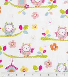 Nursery Fabric- White Pudgy Owls On Branches & nursery fabric at Joann.com