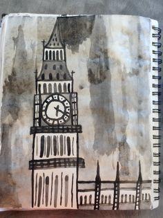 Big Ben, London.  Watercolor paint. Different Media, Create Image, Watercolour Painting, Big Ben, London, Projects, Art, Craft Art, Big Ben London