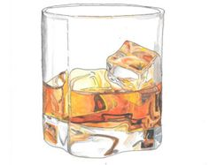 Hand made watercolor illustration ofa glass of whiskey on the rocks
