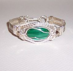 Beautiful Handcrafted Malachite Sterling Silver Wire Wrapped Bracelet  #Handmade #Cuff