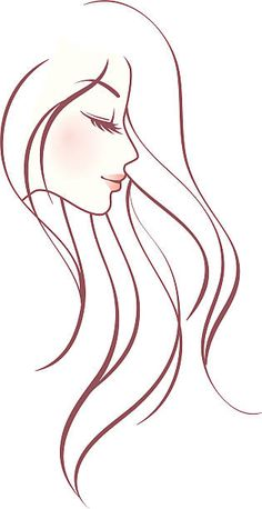 Pencil Art Drawings, Cool Art Drawings, Art Drawings Sketches, Easy Drawings, Female Profile, Women Profile, Long Hair Drawing, Hair Vector, Hair Illustration