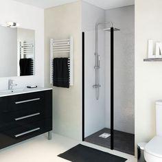 Mampara de ducha de una hoja de cristal transparente y perfil blanco. Disponible en varias medidas.