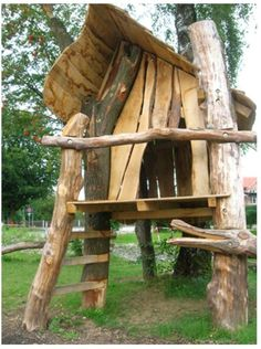 Natural Play spaces @ WKA Very rustic and simple but the design could be used for a tree house. Im not sure what I want to say about this but its almost like it has that thrown together look but it probably took a lot of skill. Natural Play Spaces, Outdoor Play Spaces, Kids Outdoor Play, Outdoor Learning, Backyard For Kids, Playground Design, Backyard Playground, Playground Ideas, Cafe House