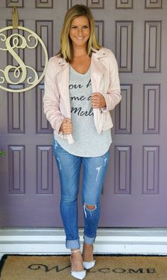 Stitch Fix Coffeeshop Fauna Faux Suede Moto Jacket - awesome with a graphic tee, distressed jeans and heels!