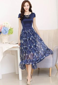 2016 New Summer Vestido De Festa Silk+Chiffon Women Dress Plus Size Vintage Print Woman Long Dress Navy Blue S,M,L,XL,XXL,3XL