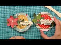 How to make a circle Christmas card using distress ink, heat embossing and patterned papers
