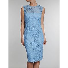 Buy Gina Bacconi Diamond Guipure Dress, Blue Online at johnlewis.com