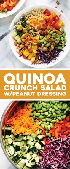 Crunch Salad with Peanut Dressing - Pinch of Yum Quinoa Crunch Salad! Crunchy rainbow veggies, juicy fresh mango, fluffy quinoa, chili lime cashews, and some creamy peanut dressing. Clean Eating Recipes, Clean Eating Snacks, Healthy Eating, Cooking Recipes, Pasta Recipes, Quinoa Salad Recipes, Avocado Recipes, Quinoa Chili, Quinoa Rice