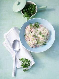 Lauch-Schinken-Reis mit Käsesauce