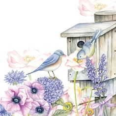 Backyard Birdhouse Decoupage Napkin