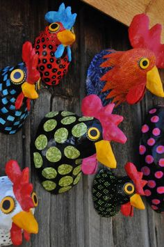 Crazy colourful chooks – handmade, paper mache faux taxidermy by Blue Rooster Arts.