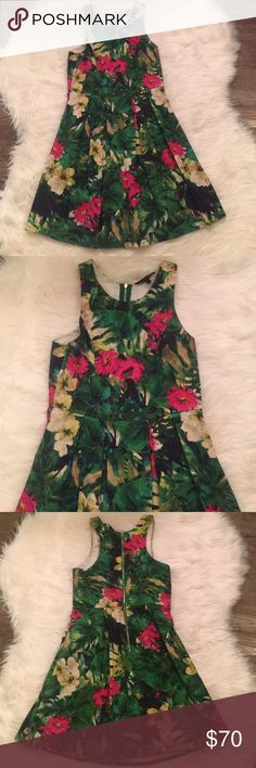 Felicity & Coco Floral/Palm Fit & Flare Sz S Worn for a friend's bridal shower. Flirty and fun. Vibrant print - green Palm with pink and yellow flowers. Fit and flare. Exposed silver zipper. 100% cotton. Purchased at Nordstrom FELICITY & COCO Dresses