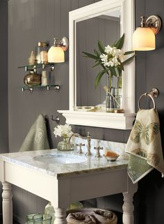 really love this gray, and it is paired with my favorite white dove! - kendall charcoal HC-166 (walls), white dove OC-17 (trim), gray mirage 2142-50 (accent). Perfect half bath