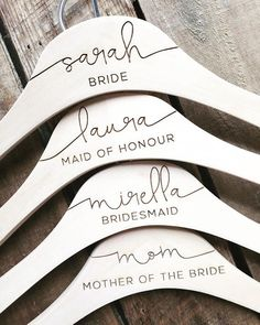 Personalized Wedding Dress Hangers - Bridal Party Hangers - Bridal Hanger - Wedding Hanger - Bridesmaid Gift - Custom Engraved Hanger gifts for bridal party Featured Etsy Product - Bridal & Wedding Bride Hanger, Wedding Dress Hanger, Hangers For Wedding, Bridesmaid Hangers, Bridesmaid Jewelry, Free Wedding Invitations, Bridesmaids And Groomsmen, Wedding Bridesmaids Gifts, Brides Maid Gifts