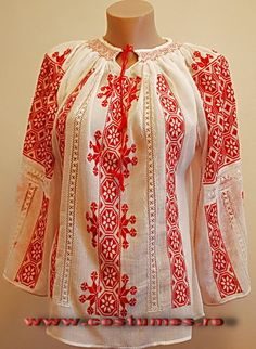 Romanian costume, Hand embroidered blouse from Muntenia region of Romani… Polish Embroidery, Hungarian Embroidery, Folk Embroidery, Folk Clothing, Folk Fashion, Embroidered Tunic, Folk Costume, Peasant Blouse, Traditional Dresses