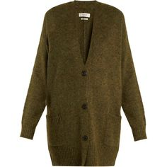 Isabel Marant Étoile Daxton oversized V-neck knit cardigan (€350) ❤ liked on Polyvore featuring tops, cardigans, khaki, v neck long sleeve top, brown top, brown cardigan, v neck cardigan and brown knit cardigan