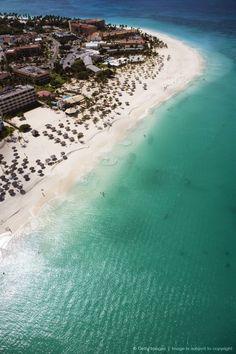 Aerial of Eagle Beach. Aruba