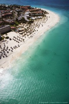 Aerial of Eagle Beach. Aruba