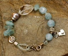 Mermaid Jewels Bracelet -  Aquamarine, Quartz, Freshwater Pearl & handmade sterling silver