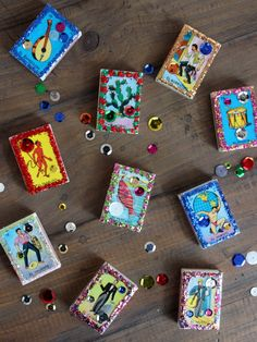 April has been a month full of love and festivities in honor of my best friend Corinne's upcoming wedding. Mexican Party Favors, San Antonio, Matchbox Crafts, Tin Art, Arte Popular, Mexican Folk Art, Grad Parties, Match Boxes, Diy Dollhouse