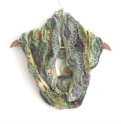 Green & Purple Flowery silk cotton wool infinity scarf  £37.00