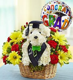 Best in Class™  Congrrrr-atulate the graduate with a truly original surprise! Crafted from colorful carnations and daisies, our signature a-DOG-able® arrangement will unleash your grad's smile. Ready to fetch a diploma in his cap and sash along with a festive balloon, this canine classmate leaves no doubt who's at the head of the class.- - Note - Available in Selected area if not possible than confirm for Florist Choice Bouquet for delivery.