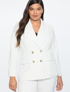 497599aff2c Pinstripe Double Breasted Blazer Plus Size Womens Clothing