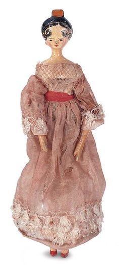 grodnertal miniature wooden doll with tuck comb