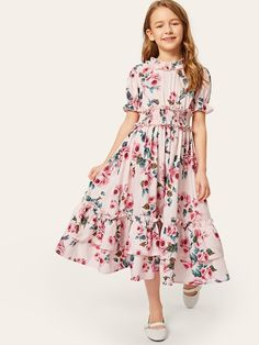 To find out about the Girls Ruffle Layered Shirred Waist Floral Dress at SHEIN, part of our latest Girls Dresses ready to shop online today! Girls Fashion Clothes, Girl Fashion, Girl Outfits, Fashion Dresses, Frock Design, Little Girl Dresses, Girls Dresses, Dress Girl, Cord Pinafore Dress