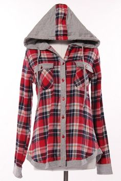 Flannel Hoodie  | Lightweight and free-spirited, this flannel buttondown is the perfect top for those cool fall days | Simple to Superb Local Boutique - oakhurst, CA