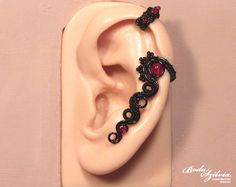 Black and red gothic cartilage earcuff by bodaszilvia.deviantart.com on @DeviantArt