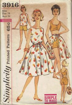 1960s Simplicity Sewing Pattern Mad Men Style Beach Dress Full Circle Skirt Tank Bra Top Shorts Bust 34 Summer Fashion