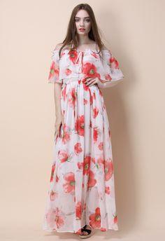Grâce de Papaver Robe Longue avec des Epaules Dénudées - Dress - Retro, Indie and Unique Fashion