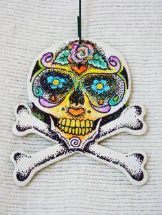 Skull and Cross Bones Dia de los Muertos Day by TheDeSotoDesigns, $15.00