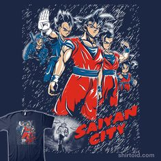 """""""Saiyan City"""" by Legendary Phoenix and Andriu Dragon Ball in the style of Sin City - 5 (black)"""