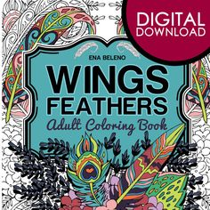 Wings And Feathers Coloring Book Digital By EnaBelenoArtshop