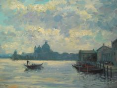 Listed-American-Artist-Nino-Pippa-Painting-of-Venice-The-Grand-Canal-COA18-X24