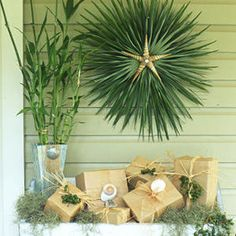 Holiday ornaments - palm frond wreath